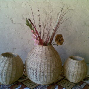 Cane weaving flower pots
