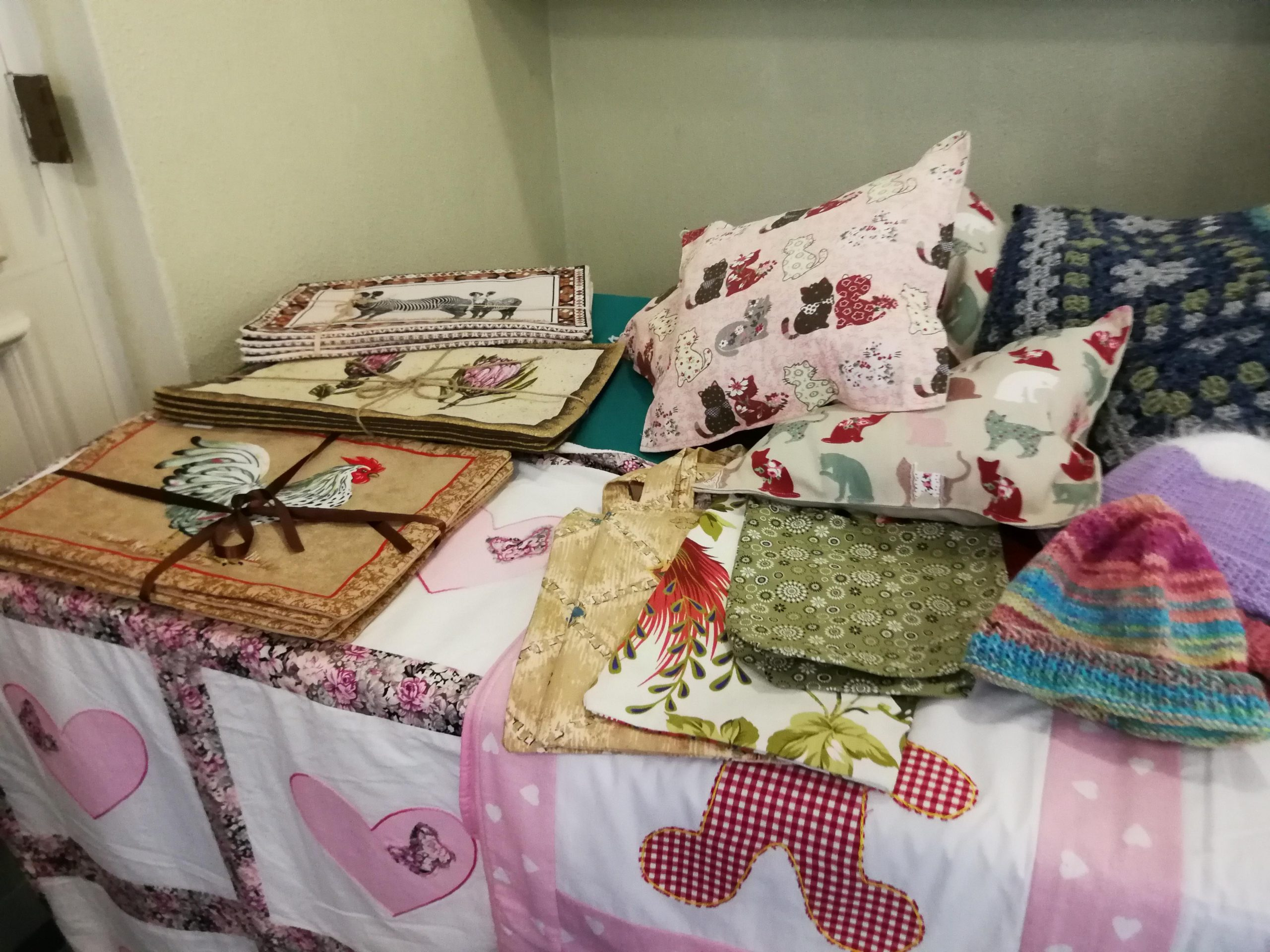 Clothes, cushions, blankets